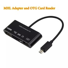 5 in1 Micro USB OTG SD TF Card Reader HDMI Connection Kit MHL to HDMI HDTV TV Adapter Cable For Samsung Galaxy S4 S5 S3 Note 2 3