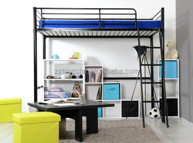 Factory price cheap twin metal adult loft bed