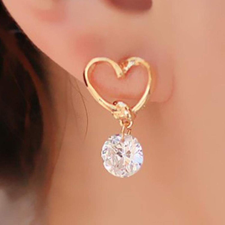 Gyoume 1 Pair Women Ear Stud Earrings Girl Heart-Shap Jewelry Gift for Girls