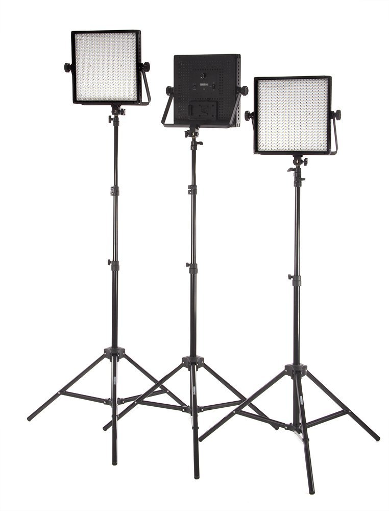 StudioPRO (Set of 3) S-600B Dimmable 600 LED Photography Lighting Panel and Light Stand Kit - Continuous 3200K-5600K Bi Color LED - Photo, Video & Film Studio Lighting Kit (Barndoors are sold separately)