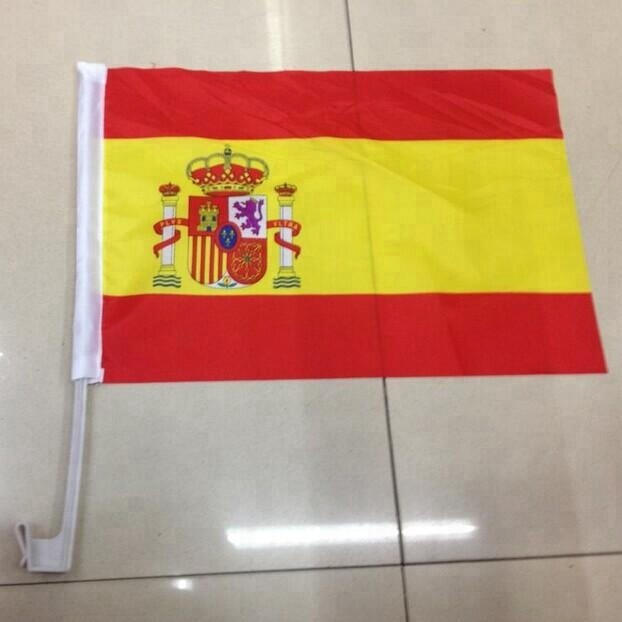 Cheap custom Spanish car window flag , car flag wholesale flags for cars