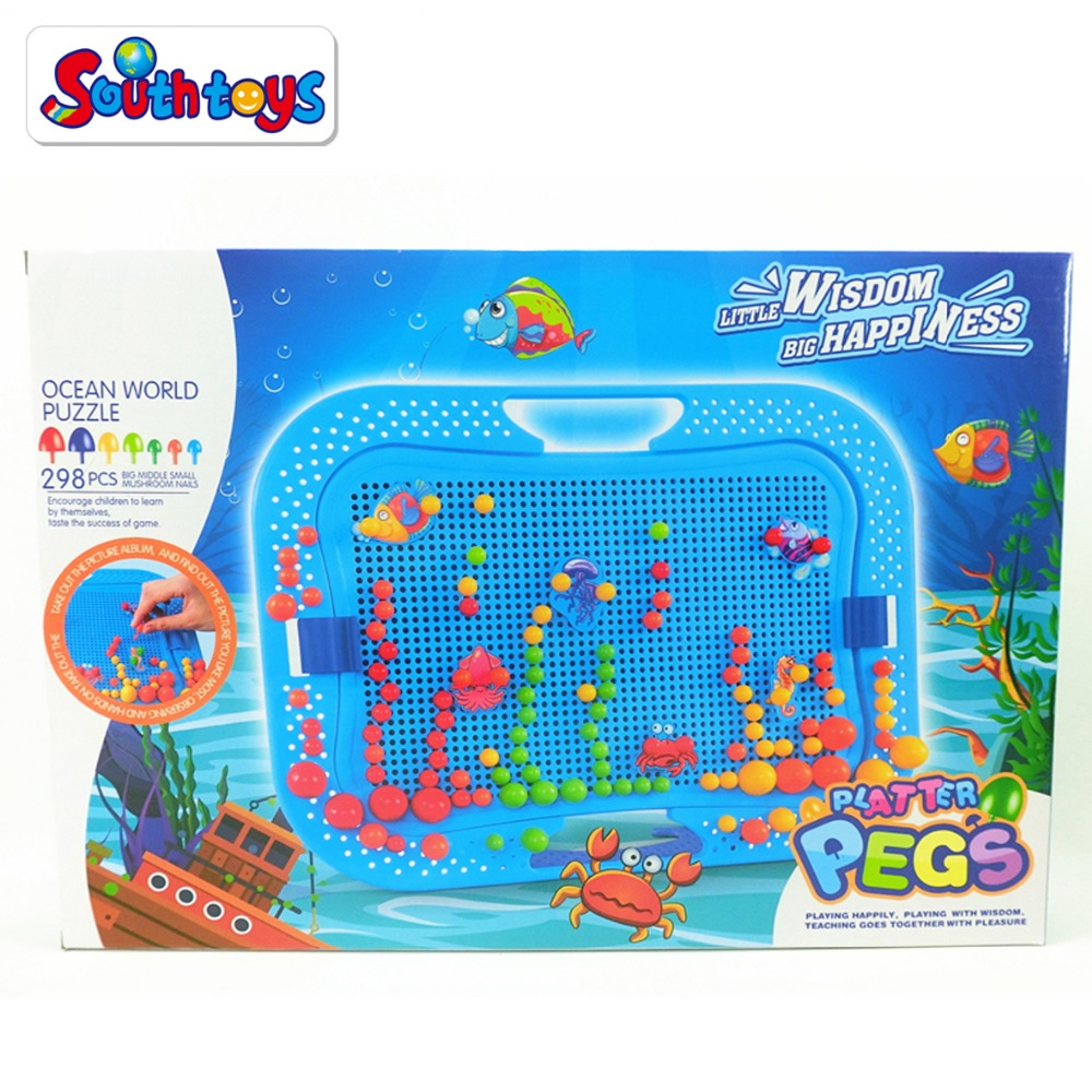 Kids early leaming educational toy 3d mushroom nails puzzle jigsaw puzzle