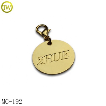 Shiny 24k gold metal keying tag stamped letter metal round plate with hook