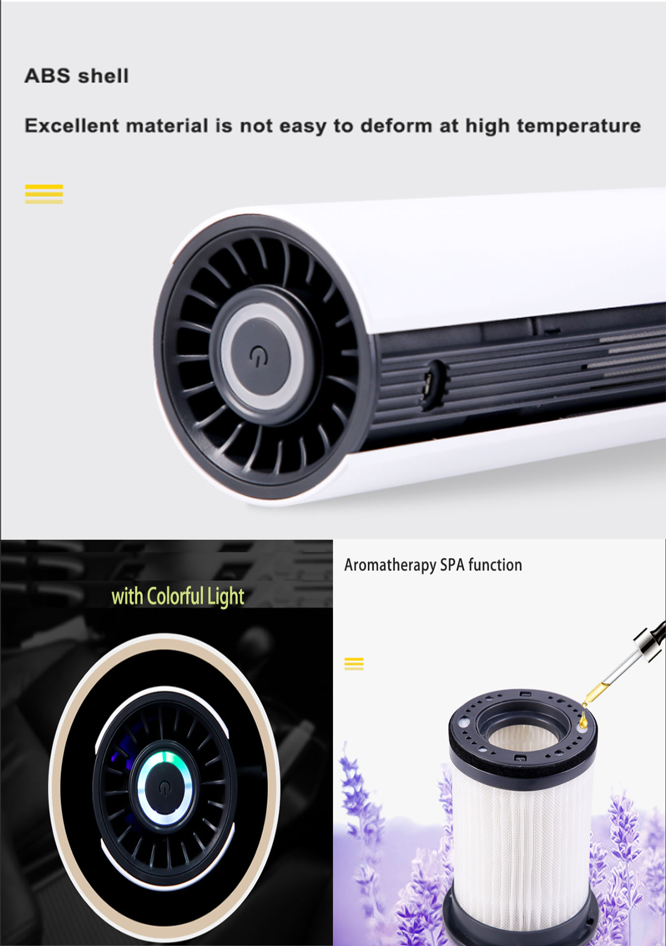 Air Purifier Electric Car Hepa Filter and Nagative Ionizer
