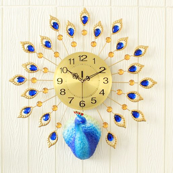 Preciser Metal 3d Art Iron Beautiful Peacock Large Wall Clock For Home Decoration