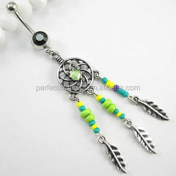Glass Stone Seed Beads Dream Catcher Belly Ring Body Piercing Belly Button Navel Ring Barbell