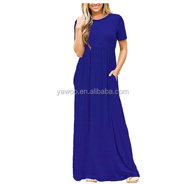 Yawoo summer solid cotton fabrics ladies long draggle tail dresses women party dress