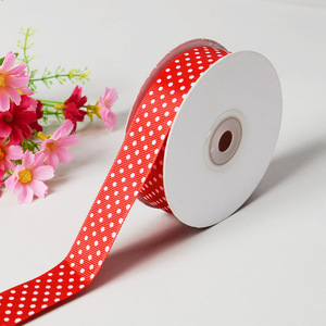Grosgrain Dot Ribbon 7/8 Inch Red with White Dots