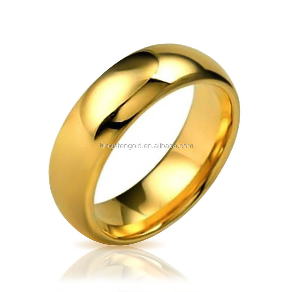 Classic Men\'s Gold Jewelry Domed Tungsten Ring Saudi Arabia Gold ...