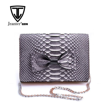 Ladies Leisure Real Python Snake Skin Clutch Bag Purse With a Shoulder Chain Customized Color