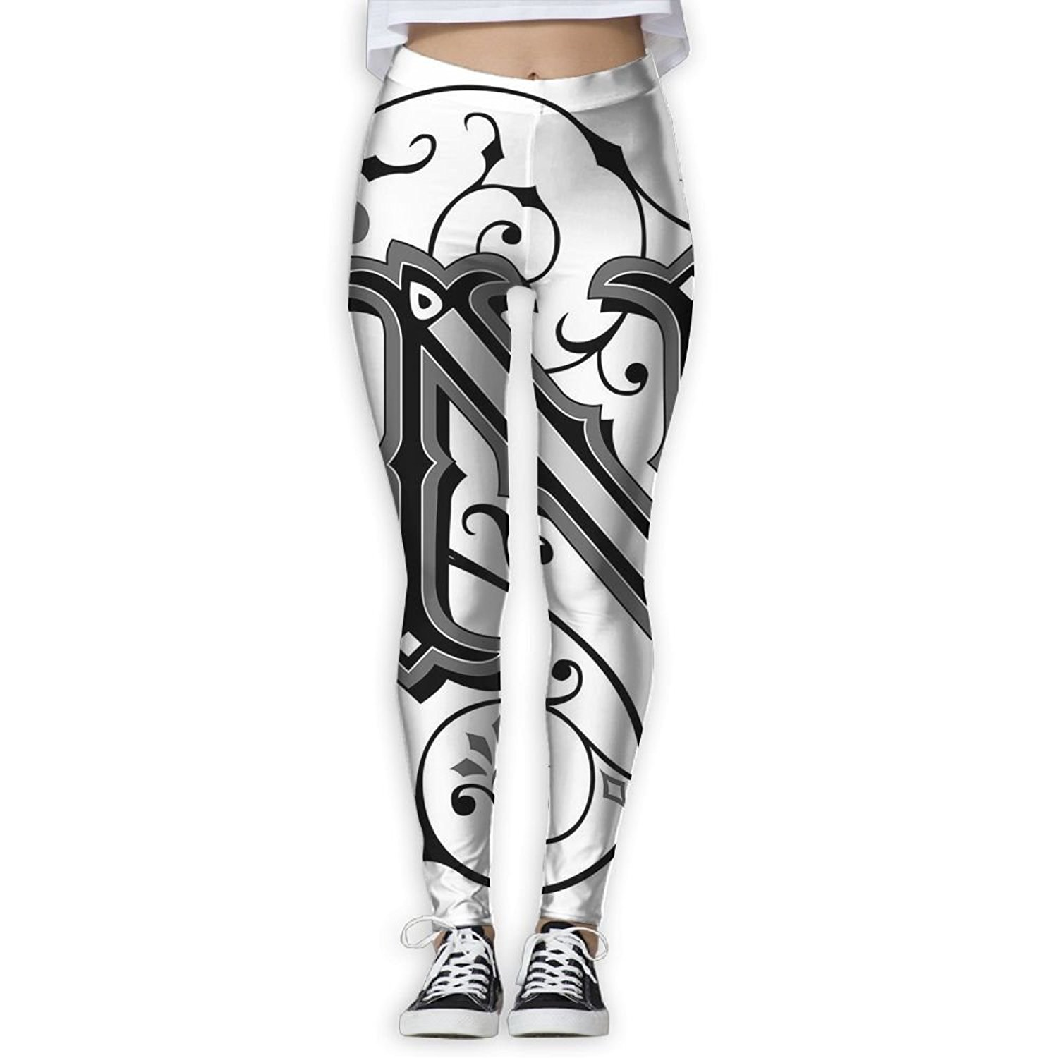 35fc5f76a08bd Get Quotations · Too Suffering Yoga Pants Middle Ages Inspired Capital N  Abstract Elements - High Waisted Workout Leggings