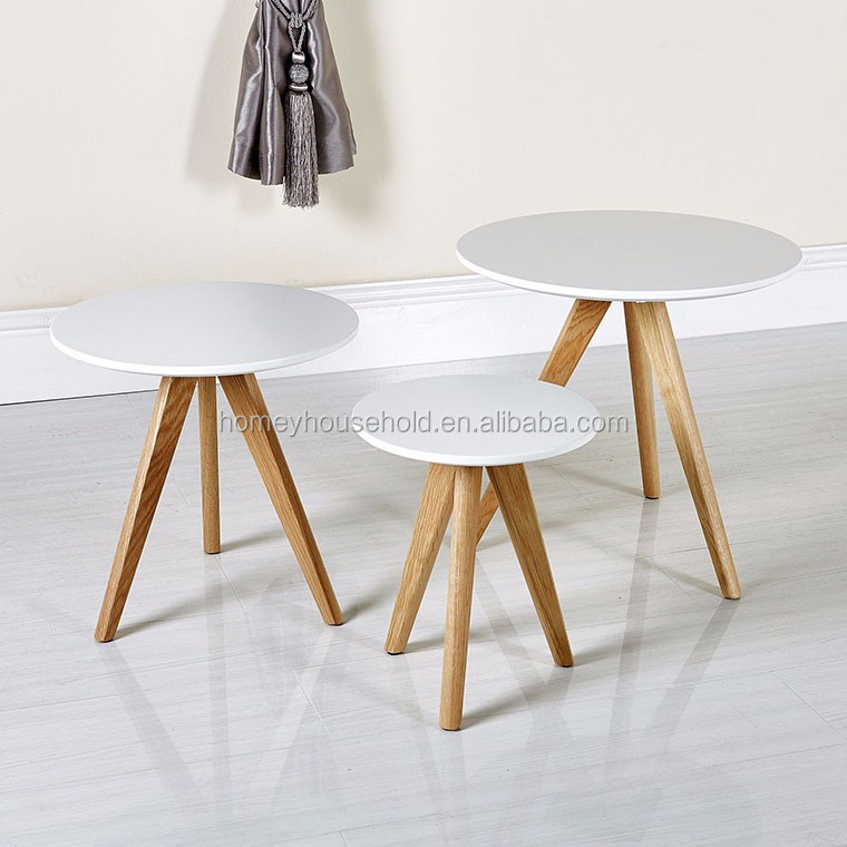 Scandinavian Retro Furniture Set of 3 Nesting Coffee Tables With Solid Oak Legs