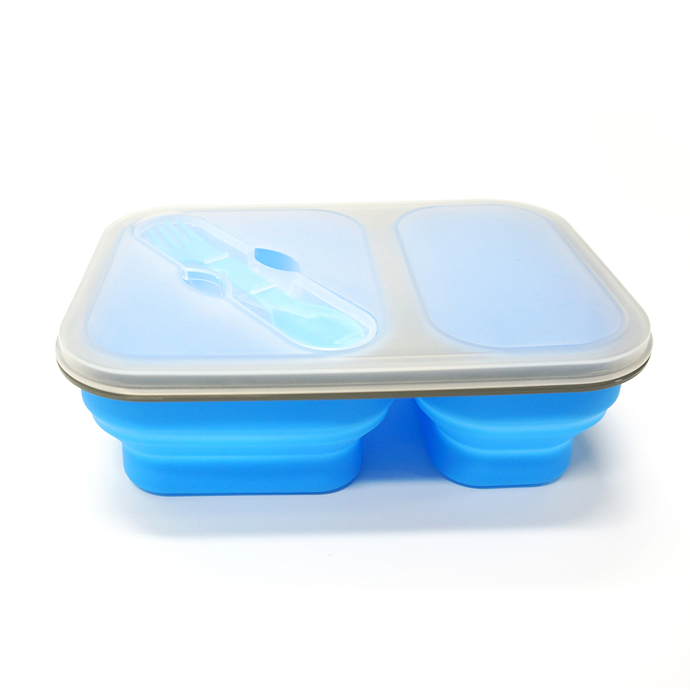 Kids Microwave Lunch Box with Fork Spoon ood-grade Silicone Lunch Containers, 3 Compartment