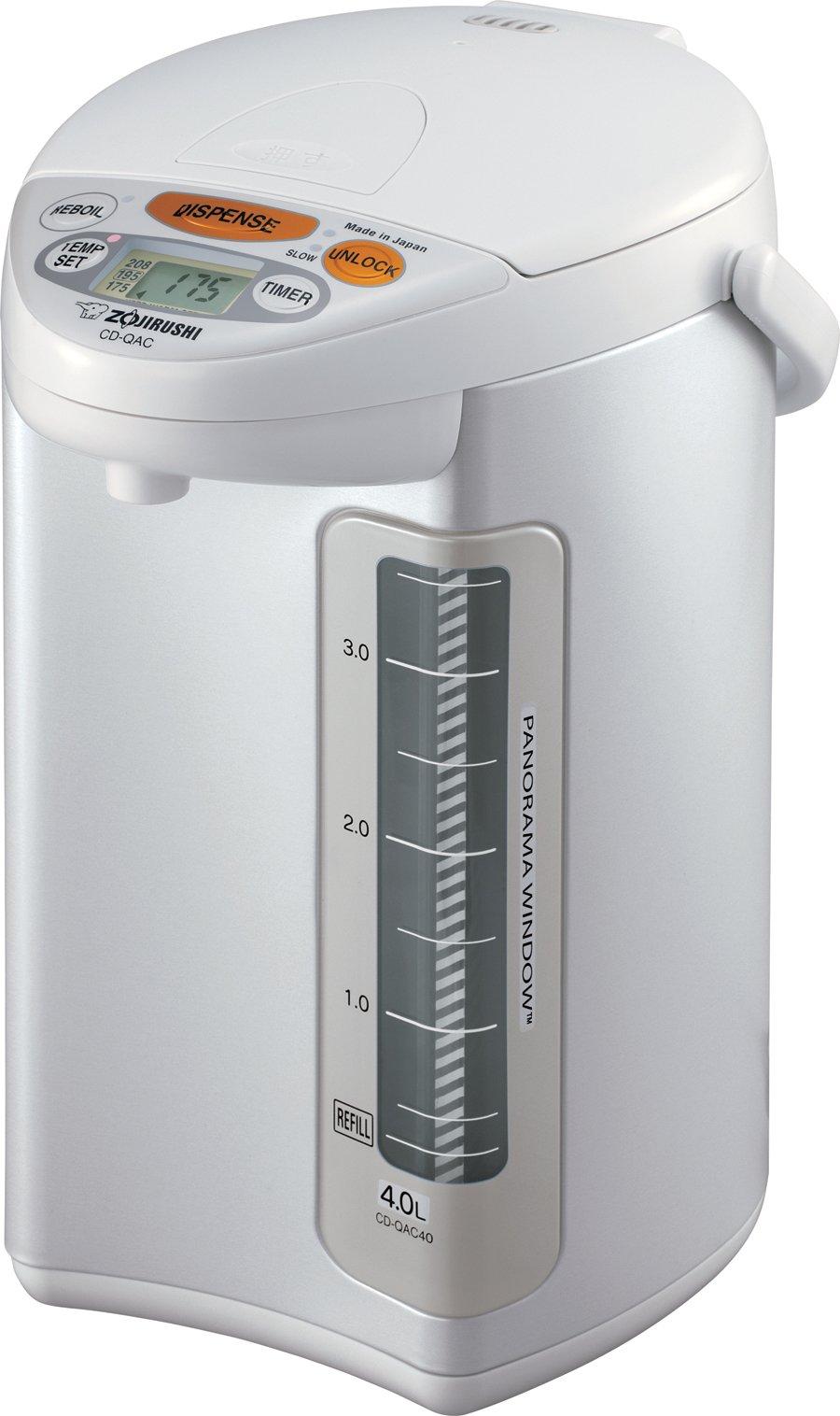 Zojirushi CD-QAC40 Micom Water Boiler and Warmer, Pearl White