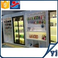 Striped rear panel and shelf Conbination wall display/Cell phone retail display stands/Home display cases
