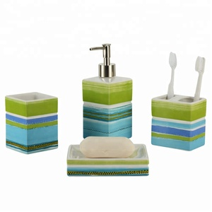 Novelty Full Decal Ceramic Bathroom Products with Set of 4 piece