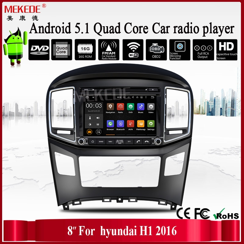 8inch car android player support GPS FM AM bluetooth for hyundai 2016 H1