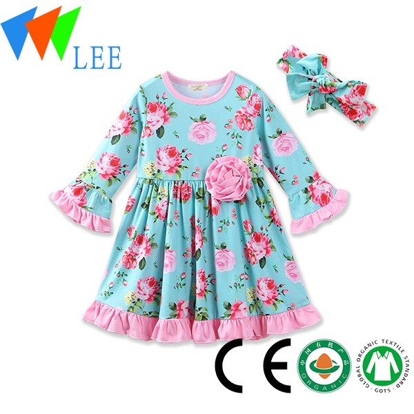 fashion kids party wear girl dress/long sleeve dress/wedding dresses girls