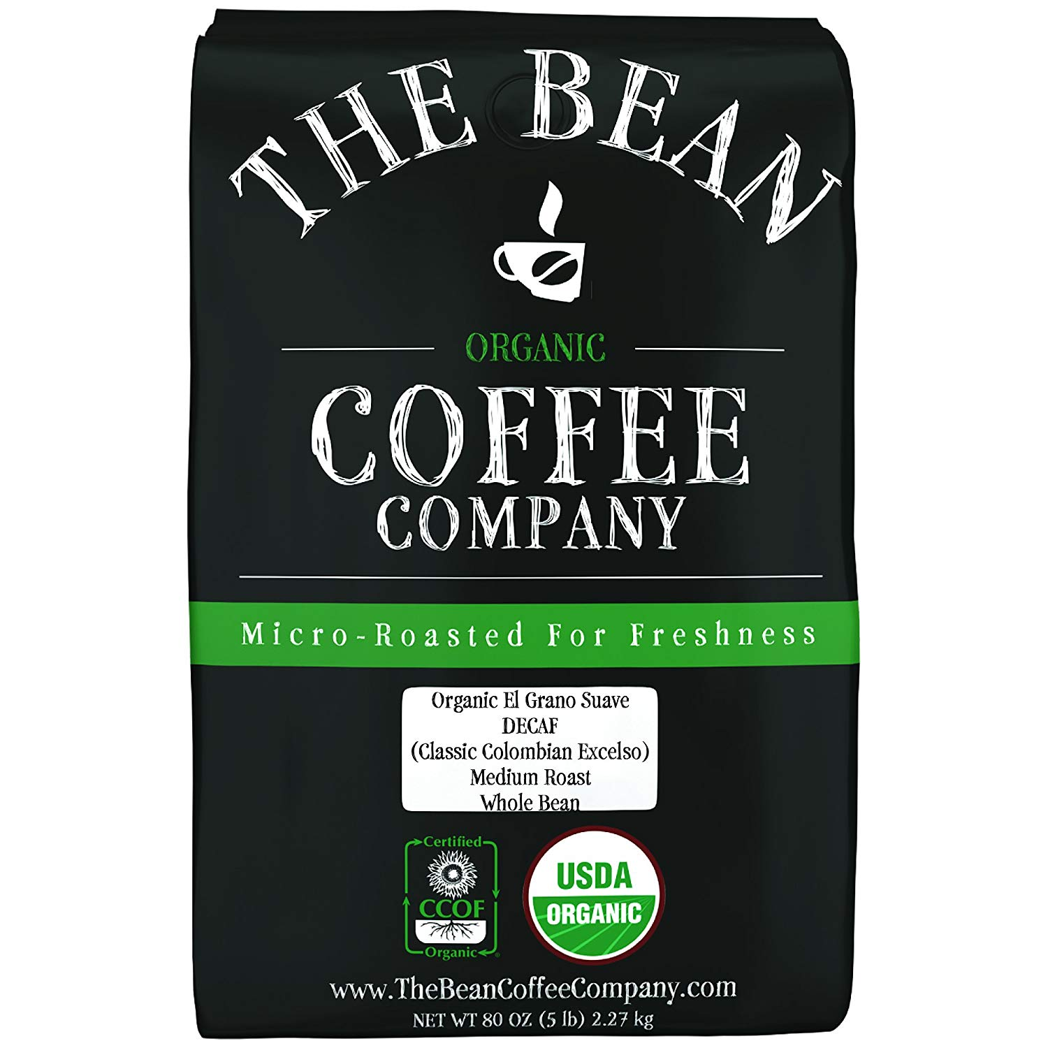 The Bean Coffee Company Organic Decaf Columbian Excelso, Medium Roast, Whole Bean, 5-Pound Bag