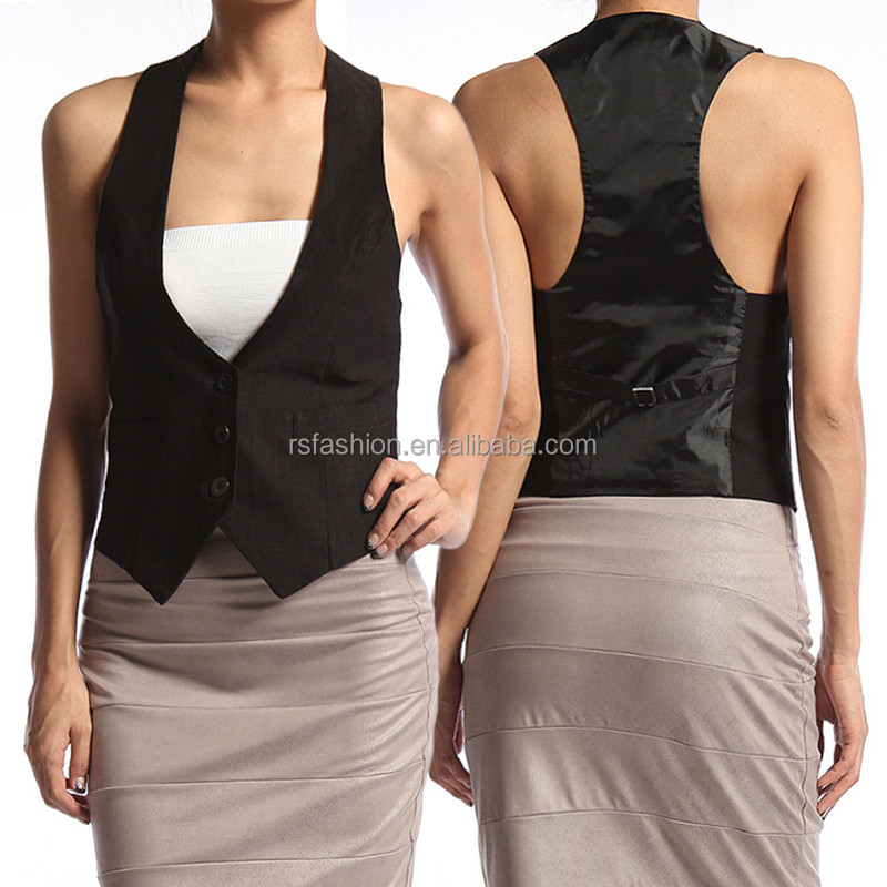 New design office lady satin racerback jacket waistcoat designs for women