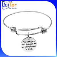 Custom Wholesale Adjustable 925 Sterling Silver Expandable Charm Wire Bangle Bracelet With Charm