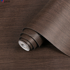 Self adhesive decorative paper PVC film wooden pattern for furniture - dark color