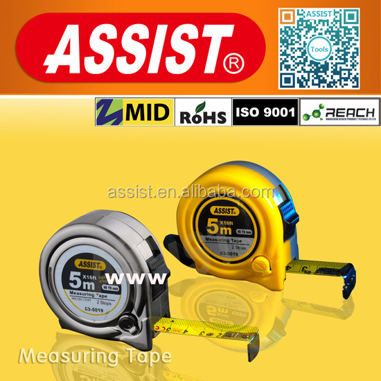ASSIST round retractable 0.115mm blade thickness plastic paper tape measures