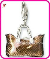 popular silver alloy brown handbag purse charm for necklace and bracelet pendant jewelry(H100799)