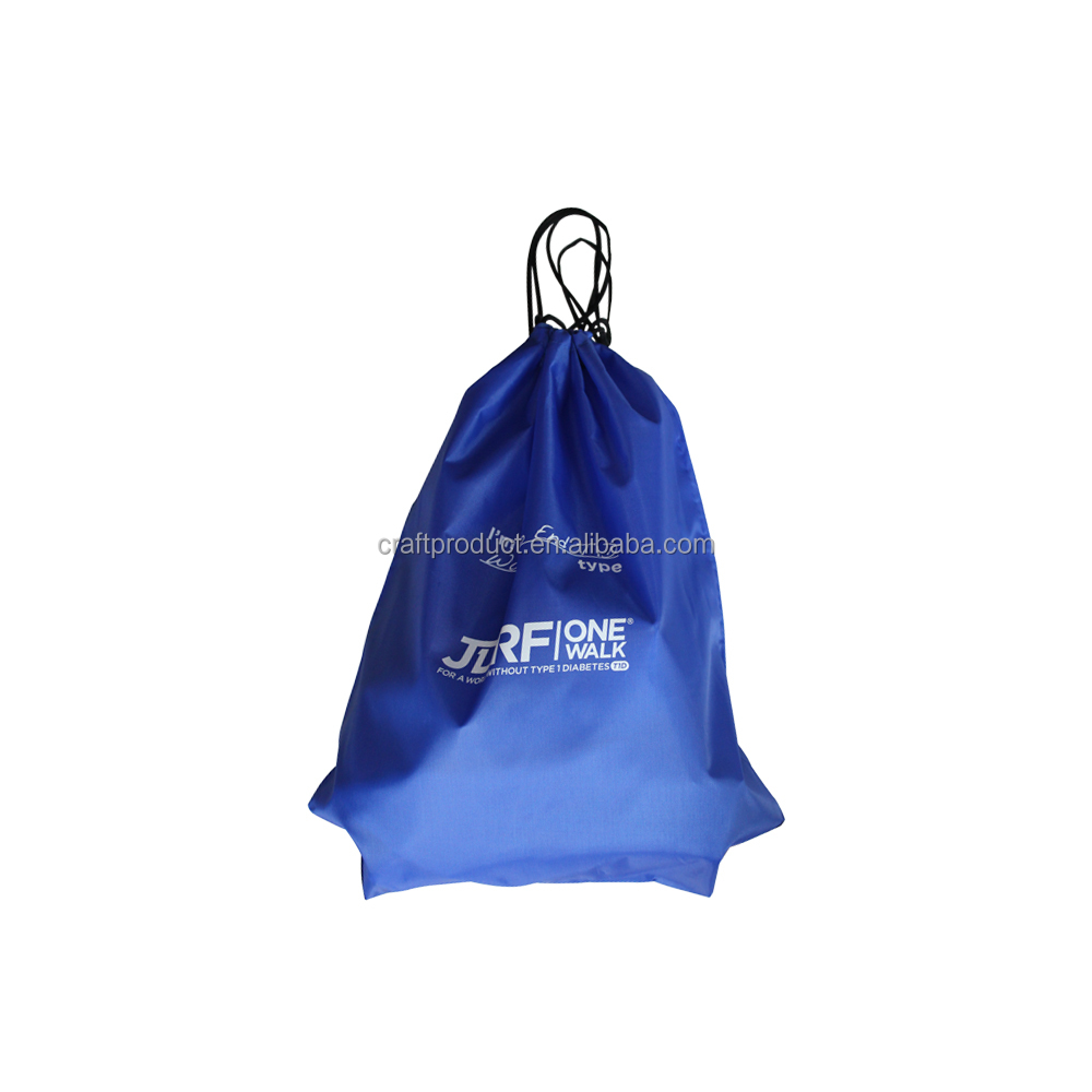 Promotional Custom Waterproof 210d Polyester Sports Nylon Drawstring Backpack Shoe Bag