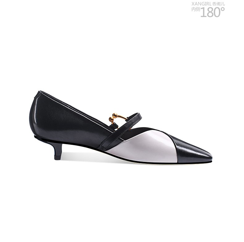 Sexy women shoes leather pump real metal decorated black 8wnX8qr
