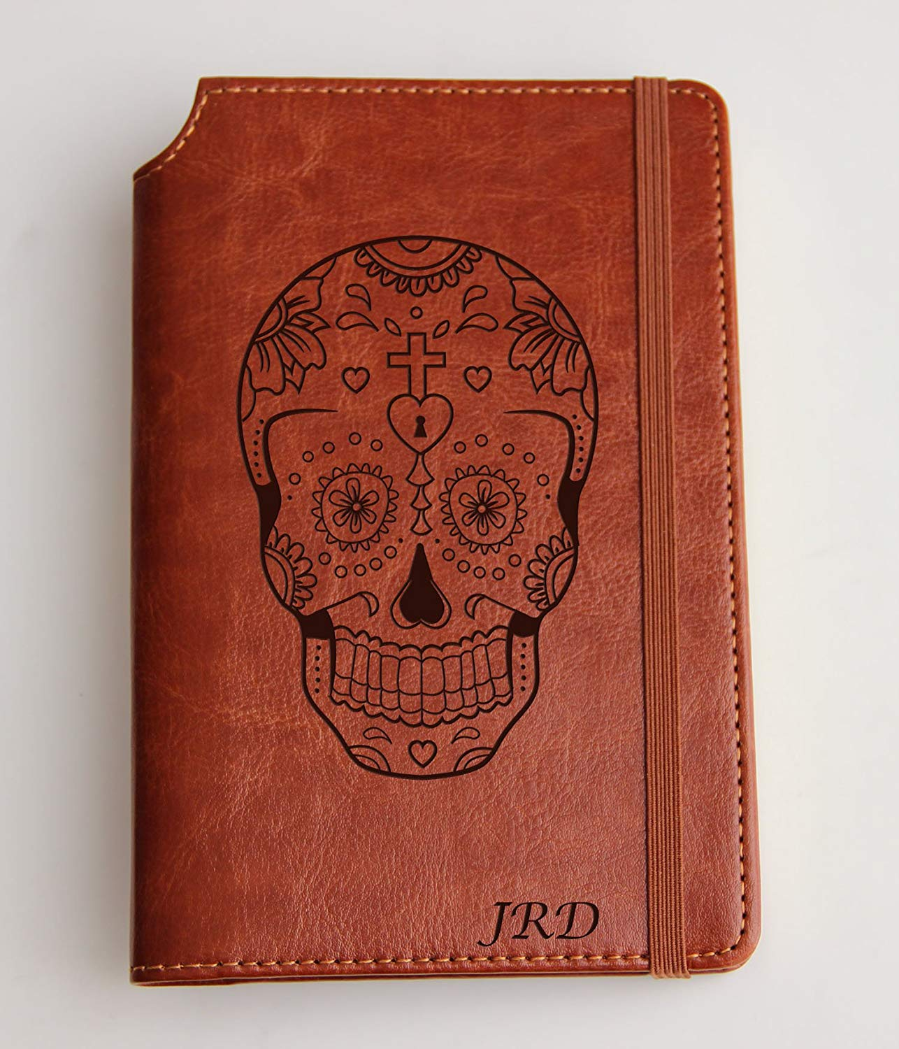 Customizable laser engraved Decorative Skull Illustration Journal Customizable engraved Journal leather bound, strip with the same color to keep it closed