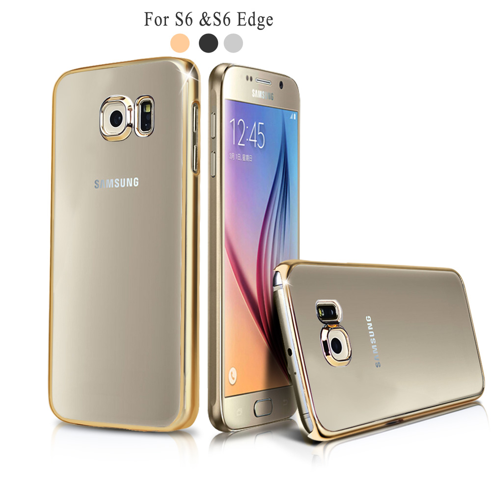 luxury coque for samsung galaxy s7 s7 edge s6 s6 edge case clear transparent acrylic back gold. Black Bedroom Furniture Sets. Home Design Ideas