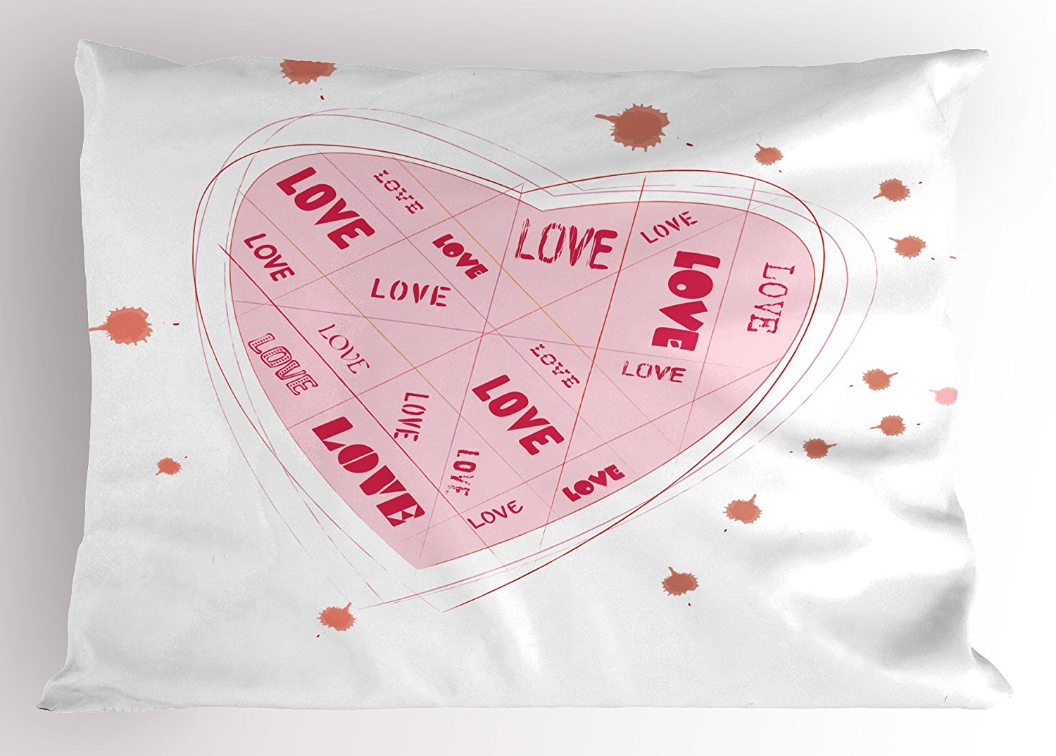 Ambesonne Love Pillow Sham, Valentine's Day Love Inscribed Heart Vintage Adoration Flirting Romance, Decorative Standard Queen Size Printed Pillowcase, 30 X 20 Inches, Pale Pink Vermilion Coral