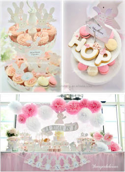 Shabby Chic Bunny Themed 1st Birthday Party Ideas Paper Tissue Flowers Poms Centerpieces