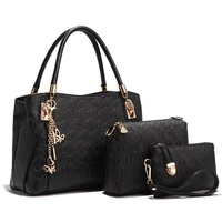Classic patent embossed pattern low moq fashion 3pcs hand bag set women