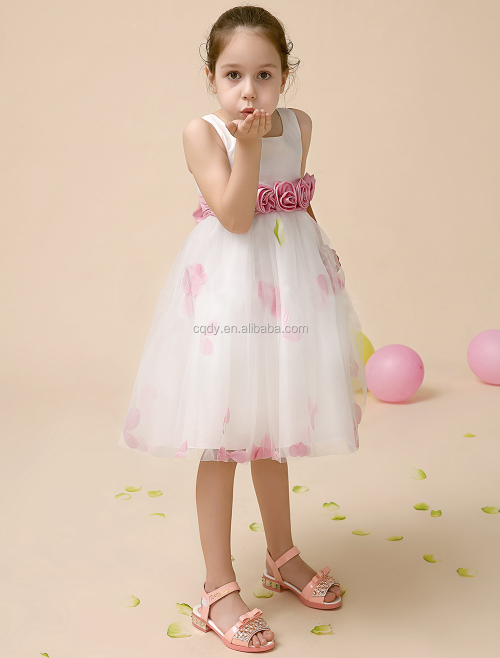 Blossom Pink Silk Bodice Tulle Skirt Dress With Flower Sash Prom