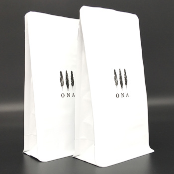 white biodegradable plastic bags compostable coffee bag flat bottom with valve zip bag