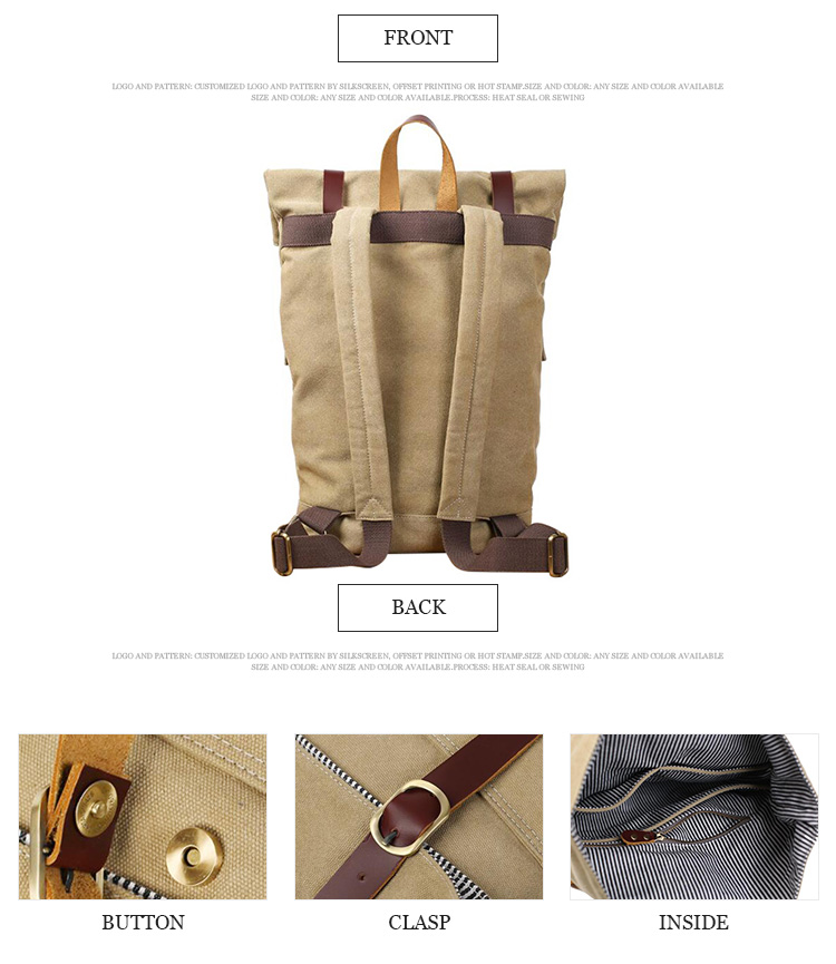 Factory supply outdoor mens college unisex vintage canvas backpack travel bagpack
