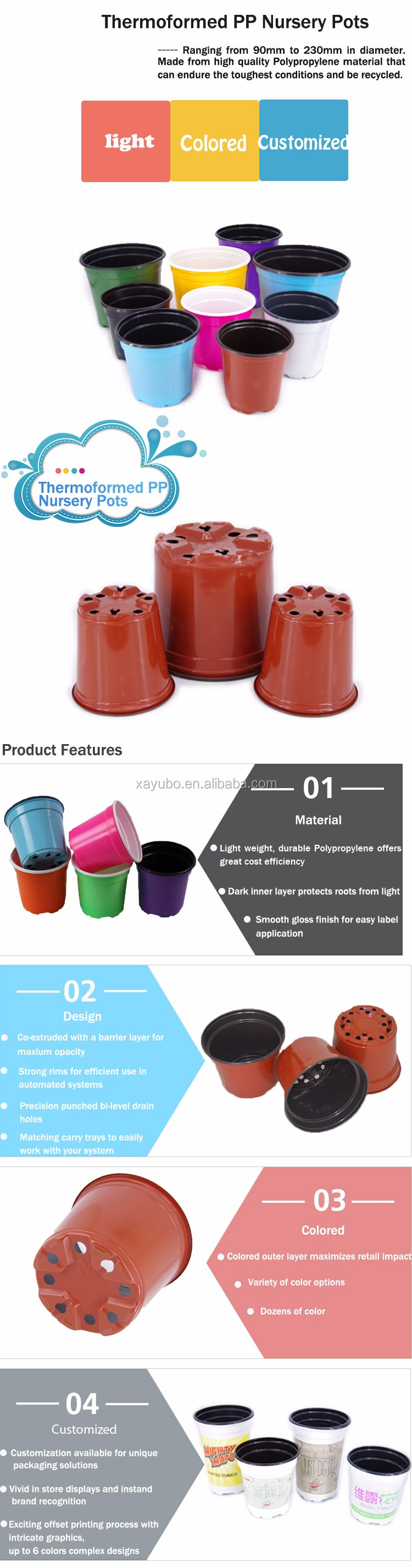 Economic Eco-friendly plastic garden flower pot for seedlings nursery