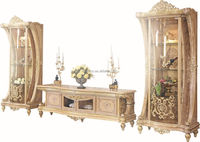 French New Baroque Classic Living Room Display Cabinet/European Antique Castle Style Wooden Hand Carved Display Cabinet,Vitrine