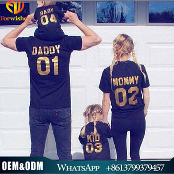 2017 Father's Day wholesale family matching clothes black t shirt daddy & mommy & baby & kids outfit printed t shirts