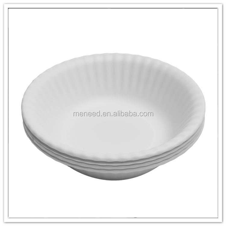 Anything cheap paper look white curvy melamine party bowl