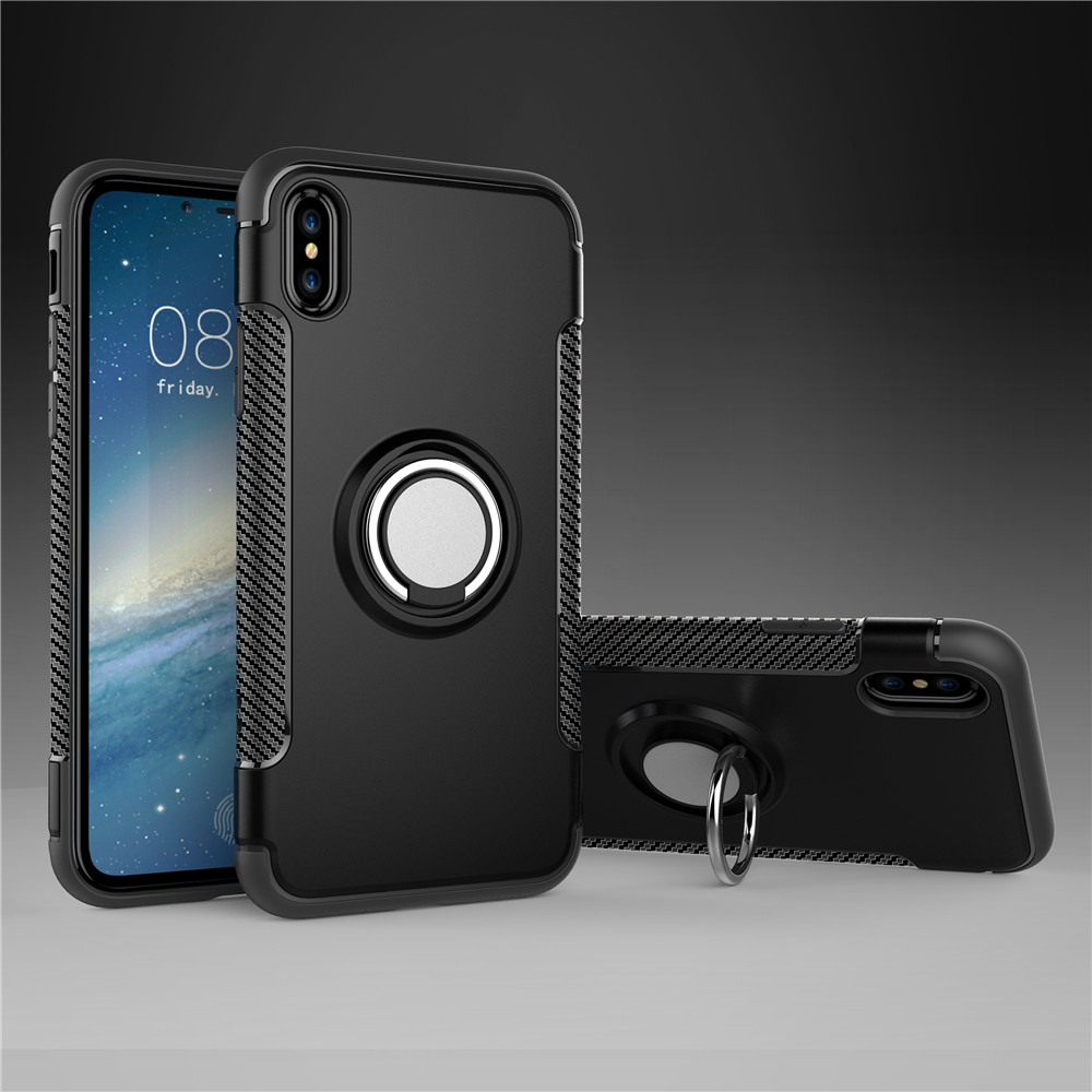 Shockproof Car Holder Stand Magnetic Suction Bracket Finger Ring TPU+PC Phone Cover Case for iPhone X