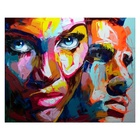 Popular Face oil painting Palette knife portrait canvas painting Impasto wall art pictures for living room home