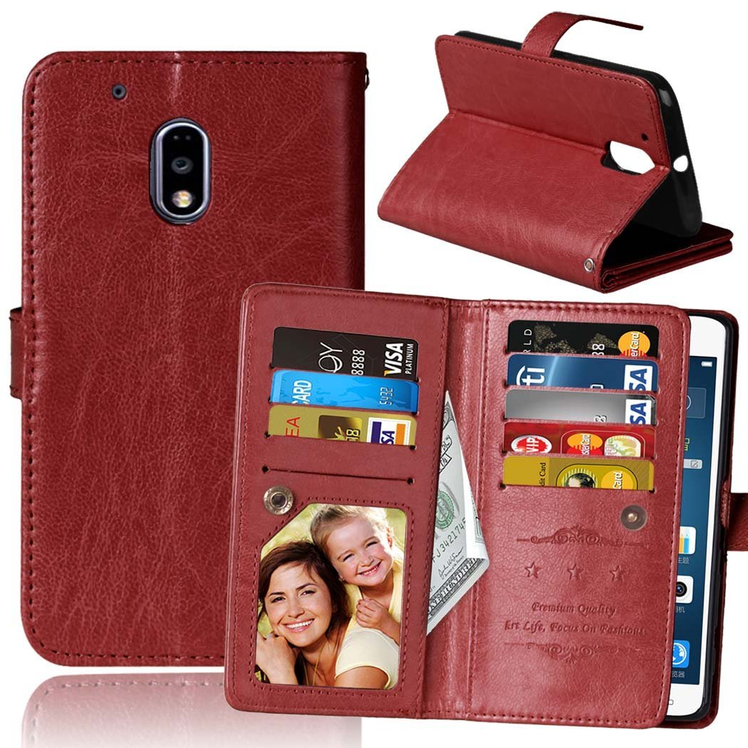 Moto G4 Play Case, Moto G Play Case, SUMOON Luxury Fashion PU Leather Magnet Wallet Credit Card Holder Flip Case with Built-in 9 Card Slots & Stand For Motorola Moto G4 Play/Moto G Play (Brown)