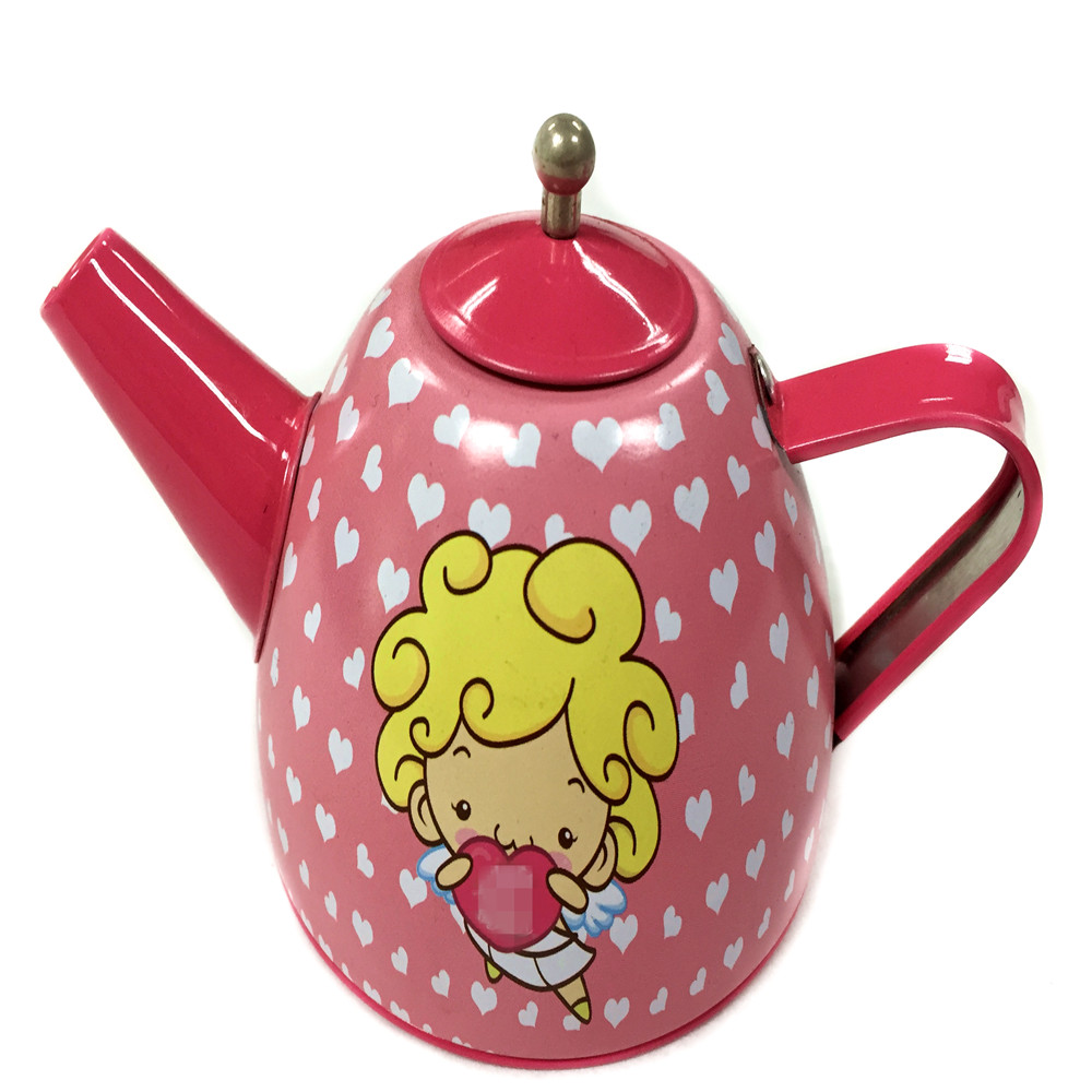 Metal lovely teapot tin can for candy mint packaging