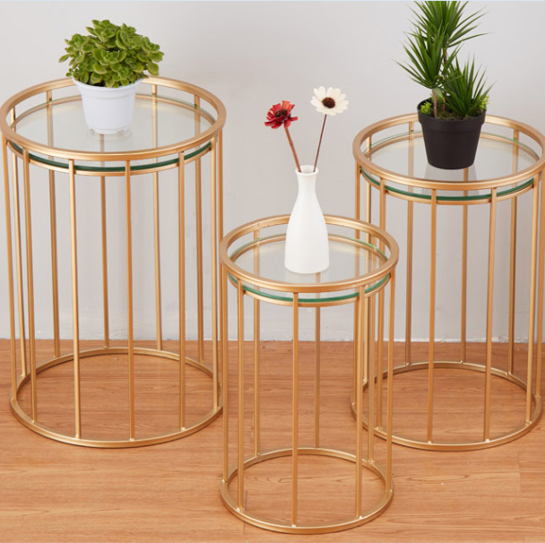 Set of 3 nesting gold metal glass coffee side table Italian coffee table online store nest of tables