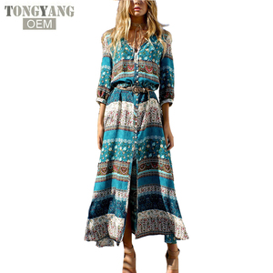 f19dfb10ae TONGYANG Women Bohemia V-neck Three Quarter Sleeve Floral Print Ethnic  Beach Boho Long Dress Retro Hippie Vestidos Boho Dress