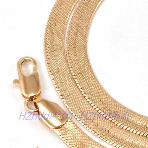 "20.5""inch 52cm 5mm 19g,REAL 18K ROSE GOLD PLATED NECKLACE HERRINGBONE CHAIN,Wholesale,pay 3 items together will get a small gift"