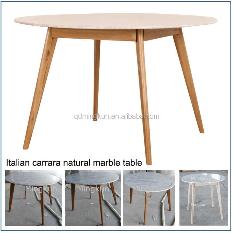 Simple Design White Marble Dining Table With Wooden Legs Top Product